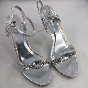 Sweeties Silver Formal High Heel Open Toe Shoes